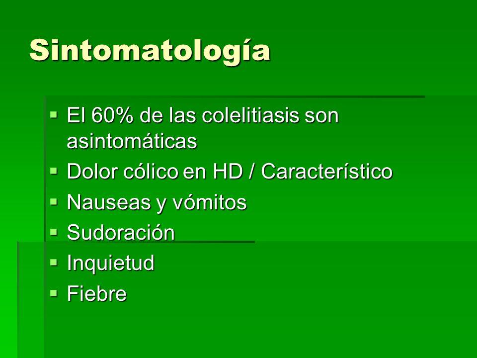 Sintomatología El 60% de las colelitiasis son asintomáticas El 60% de las colelitiasis son asintomáticas Dolor cólico en HD / Característico Dolor cól