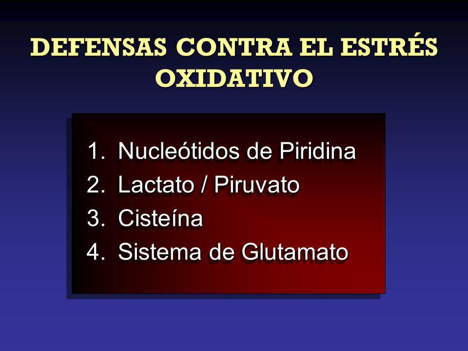DEFENSAS CONTRA EL ESTRÉS OXIDATIVO 1.Nucleótidos de Piridina 2.Lactato / Piruvato 3.Cisteína 4.Sistema de Glutamato 1.Nucleótidos de Piridina 2.Lactato / Piruvato 3.Cisteína 4.Sistema de Glutamato