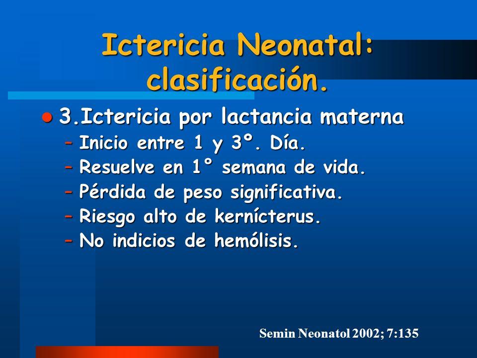 Ictericia Neonatal: clasificación. 3.Ictericia por lactancia materna 3.Ictericia por lactancia materna –Inicio entre 1 y 3º. Día. –Resuelve en 1° sema