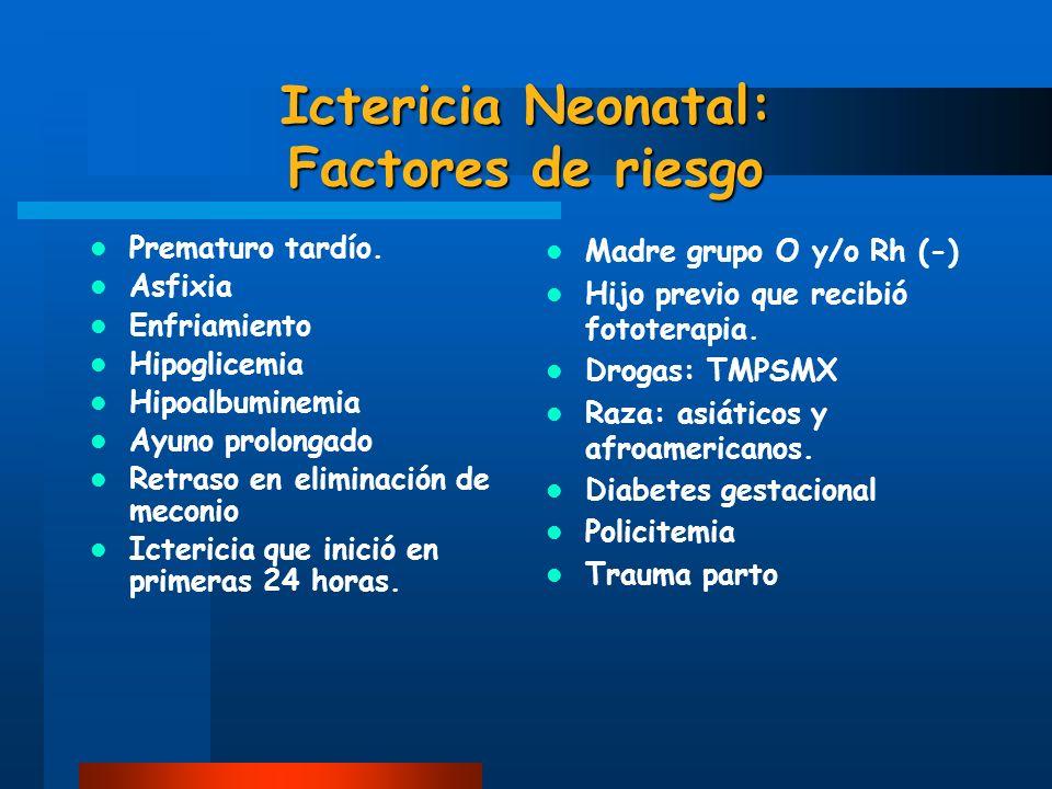 Ictericia Neonatal: Factores de riesgo Prematuro tardío. Asfixia Enfriamiento Hipoglicemia Hipoalbuminemia Ayuno prolongado Retraso en eliminación de