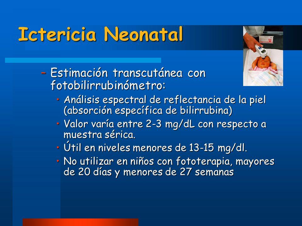Ictericia Neonatal –Estimación transcutánea con fotobilirrubinómetro: Análisis espectral de reflectancia de la piel (absorción específica de bilirrubi