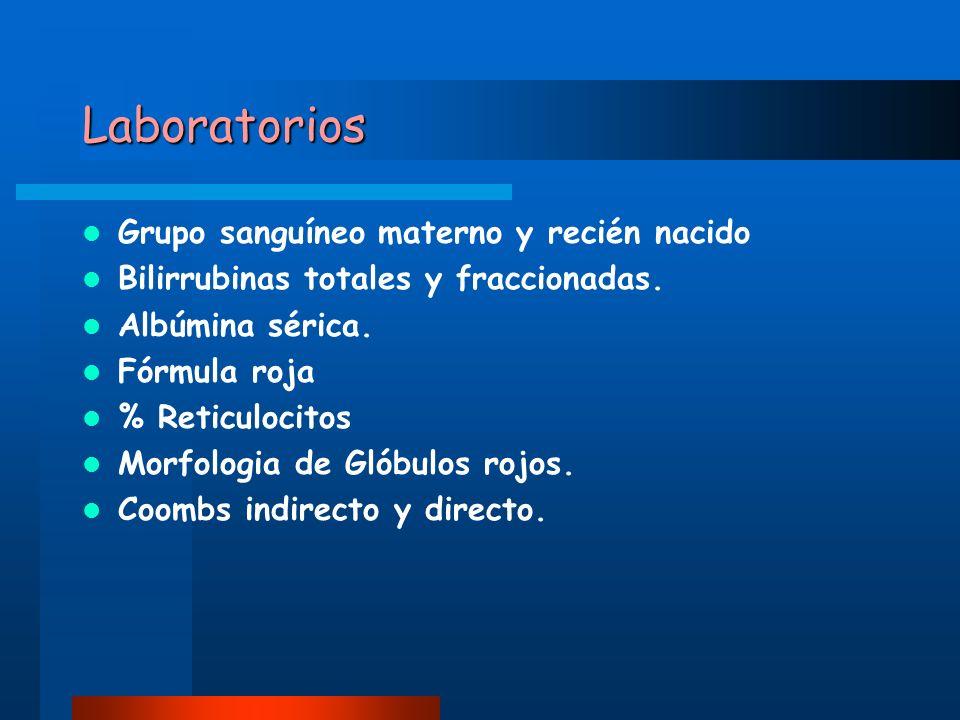 Laboratorios Grupo sanguíneo materno y recién nacido Bilirrubinas totales y fraccionadas. Albúmina sérica. Fórmula roja % Reticulocitos Morfologia de