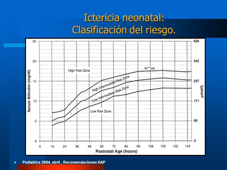 Ictericia neonatal: Clasificación del riesgo. Pediatrics 2004, abril, Recomendaciones AAP