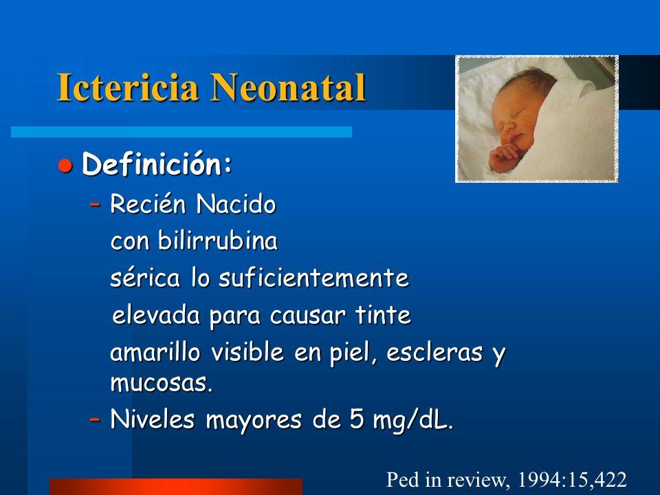 Ictericia Neonatal Fototerapia Fototerapia –No hay rol de fototerapia profiláctica –Producción de fotoproductos hidrosolubles Foto-isomerización configuracional: 20% de conversión (4z,15z a 4z,15e) pero reversible.