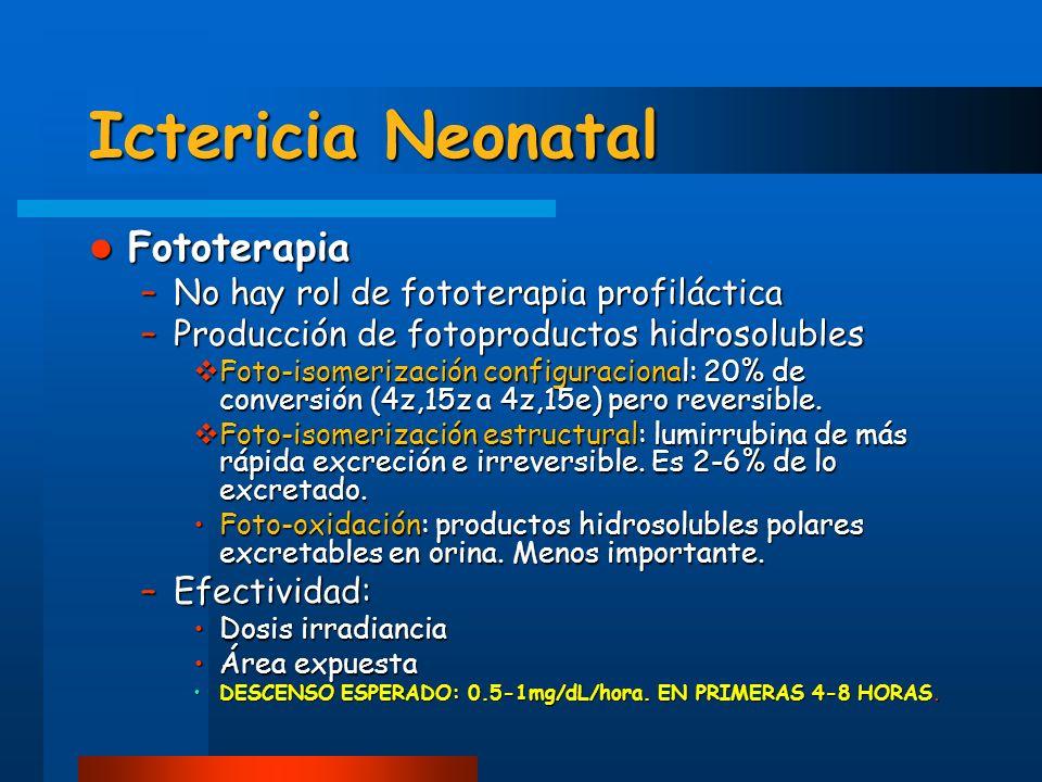 Ictericia Neonatal Fototerapia Fototerapia –No hay rol de fototerapia profiláctica –Producción de fotoproductos hidrosolubles Foto-isomerización confi