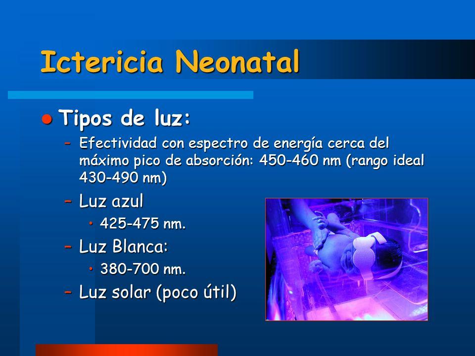 Ictericia Neonatal Tipos de luz: Tipos de luz: –Efectividad con espectro de energía cerca del máximo pico de absorción: 450-460 nm (rango ideal 430-49