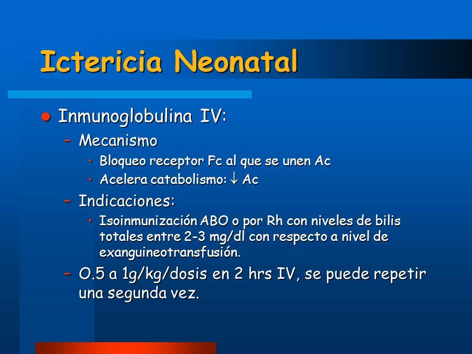Ictericia Neonatal Inmunoglobulina IV: Inmunoglobulina IV: –Mecanismo Bloqueo receptor Fc al que se unen AcBloqueo receptor Fc al que se unen Ac Acele