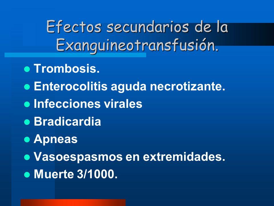 Efectos secundarios de la Exanguineotransfusión. Trombosis. Enterocolitis aguda necrotizante. Infecciones virales Bradicardia Apneas Vasoespasmos en e