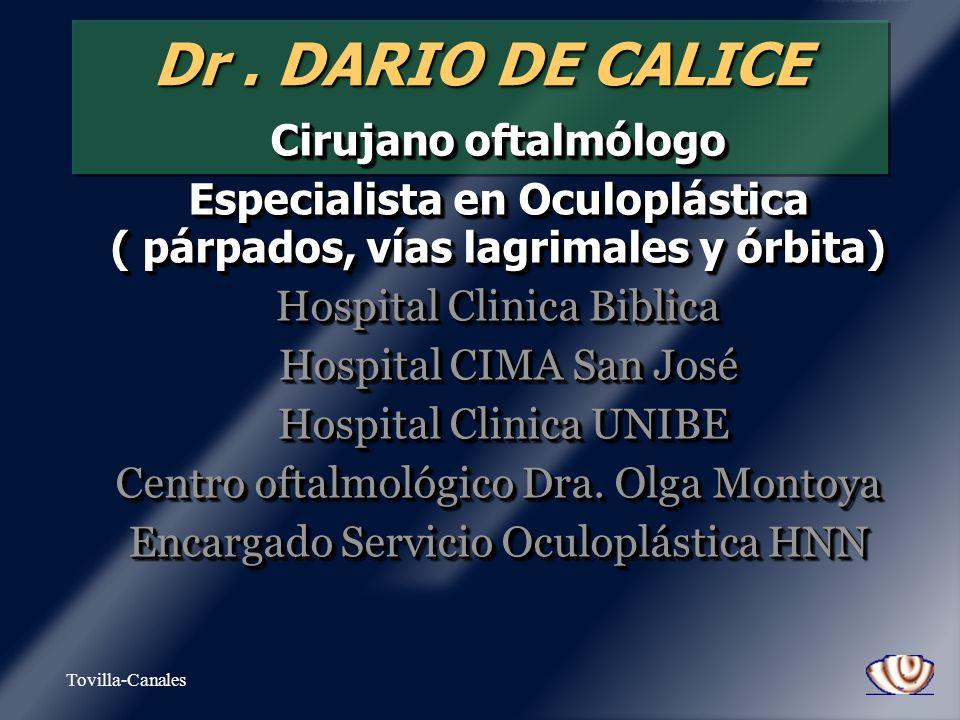 Tovilla-Canales DacriocistitisDacriocistitis Dacriocistorrinostomía (DCR) – – Convencional (1904) – – Endoscópica (1991) – – Anestesia – – Infiltrar con Xylocaina + epinefrina – – Vasoconstrictor nasal – – NO ASPIRINAS