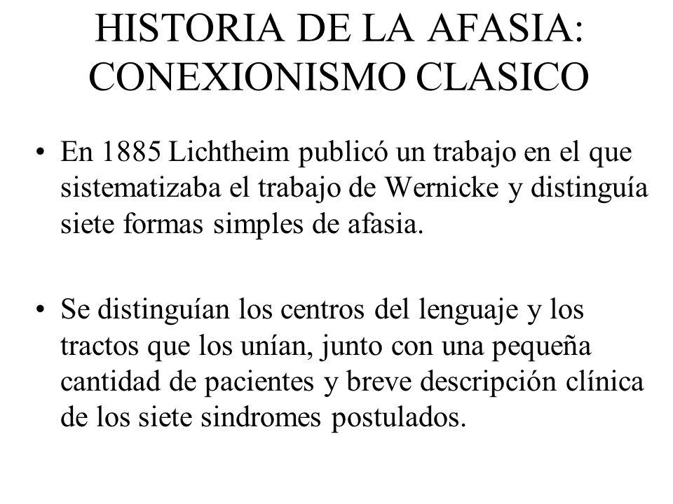 HISTORIA DE LA AFASIA: CONEXIONISMO CLASICO En 1885 Lichtheim publicó un trabajo en el que sistematizaba el trabajo de Wernicke y distinguía siete for