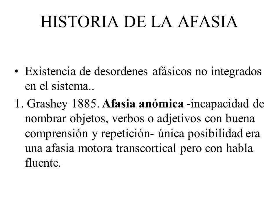 HISTORIA DE LA AFASIA Existencia de desordenes afásicos no integrados en el sistema.. 1. Grashey 1885. Afasia anómica -incapacidad de nombrar objetos,