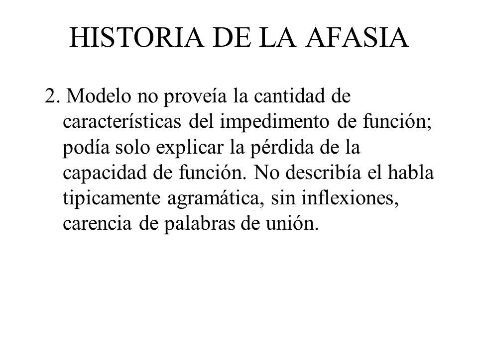 HISTORIA DE LA AFASIA 2. Modelo no proveía la cantidad de características del impedimento de función; podía solo explicar la pérdida de la capacidad d