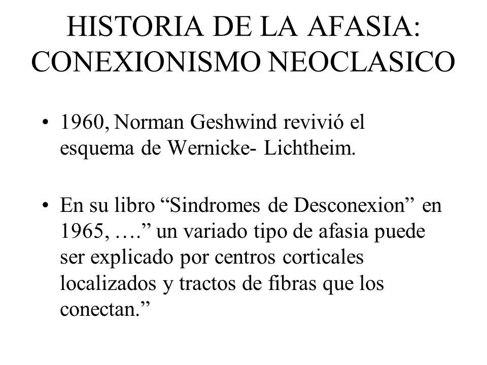 HISTORIA DE LA AFASIA: CONEXIONISMO NEOCLASICO 1960, Norman Geshwind revivió el esquema de Wernicke- Lichtheim. En su libro Sindromes de Desconexion e