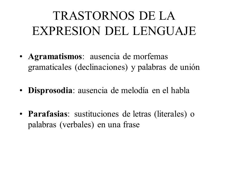 TRASTORNOS DE LA EXPRESION DEL LENGUAJE Agramatismos: ausencia de morfemas gramaticales (declinaciones) y palabras de unión Disprosodia: ausencia de m