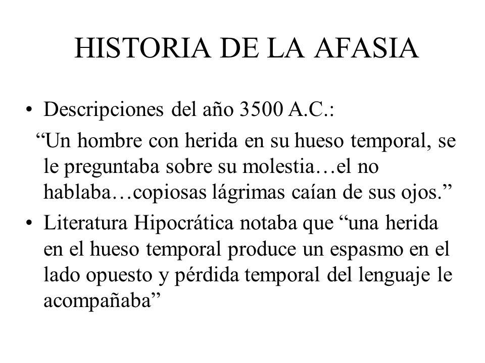 HISTORIA DE LA AFASIA Descripciones del año 3500 A.C.: Un hombre con herida en su hueso temporal, se le preguntaba sobre su molestia…el no hablaba…cop