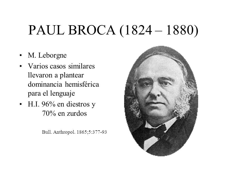 PAUL BROCA (1824 – 1880) M. Leborgne Varios casos similares llevaron a plantear dominancia hemisférica para el lenguaje H.I. 96% en diestros y 70% en