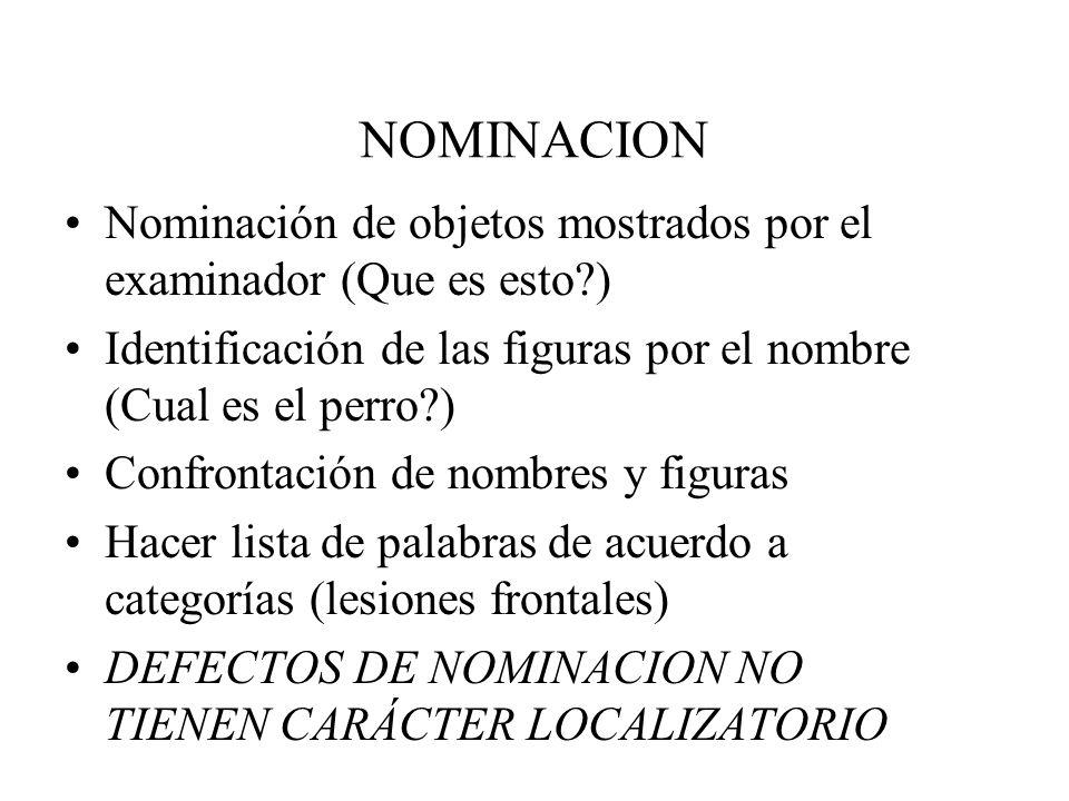 NOMINACION Nominación de objetos mostrados por el examinador (Que es esto?) Identificación de las figuras por el nombre (Cual es el perro?) Confrontac