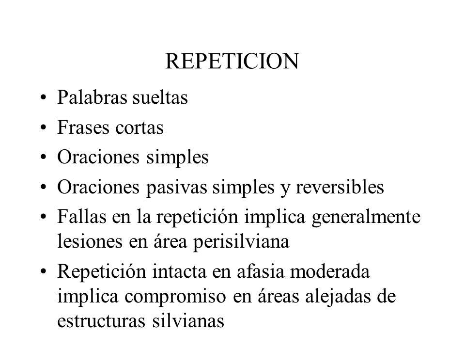 REPETICION Palabras sueltas Frases cortas Oraciones simples Oraciones pasivas simples y reversibles Fallas en la repetición implica generalmente lesio