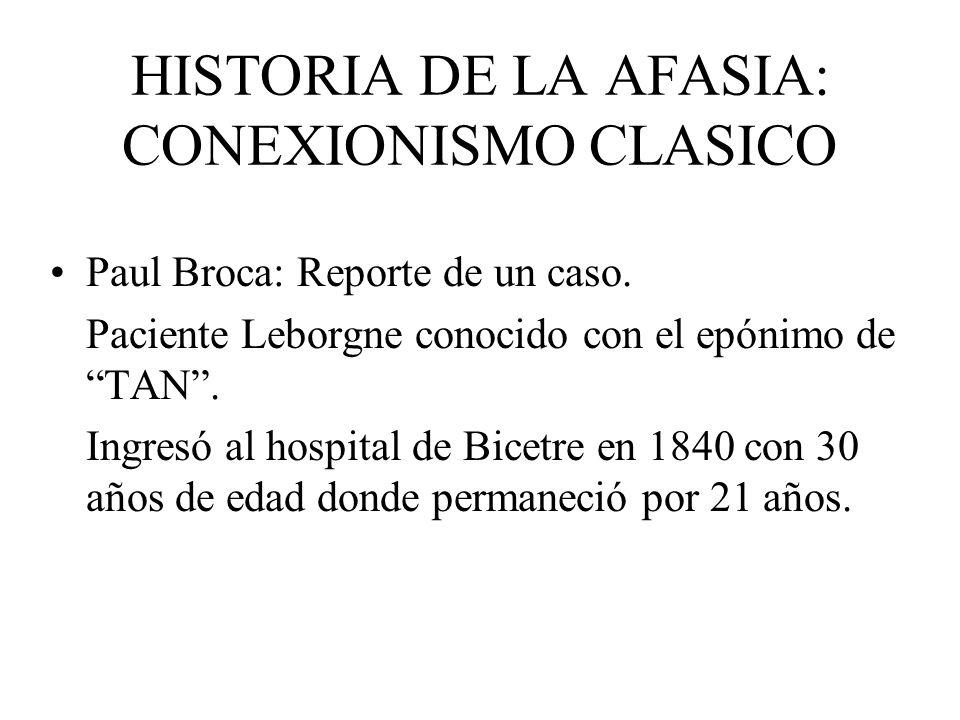 HISTORIA DE LA AFASIA: CONEXIONISMO CLASICO Paul Broca: Reporte de un caso. Paciente Leborgne conocido con el epónimo de TAN. Ingresó al hospital de B