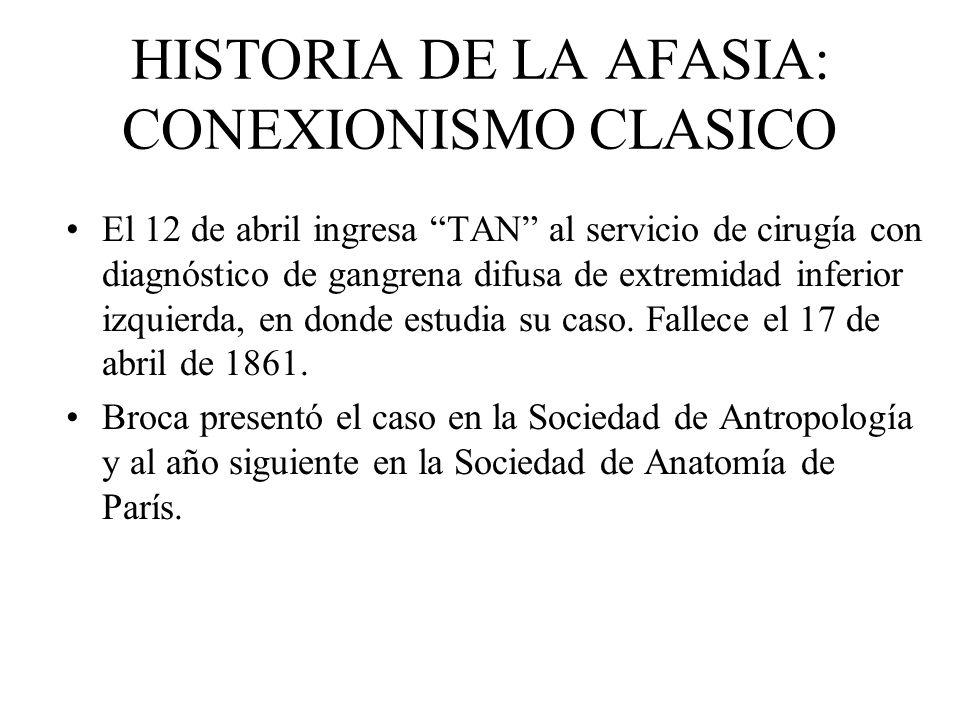 HISTORIA DE LA AFASIA: CONEXIONISMO CLASICO El 12 de abril ingresa TAN al servicio de cirugía con diagnóstico de gangrena difusa de extremidad inferio