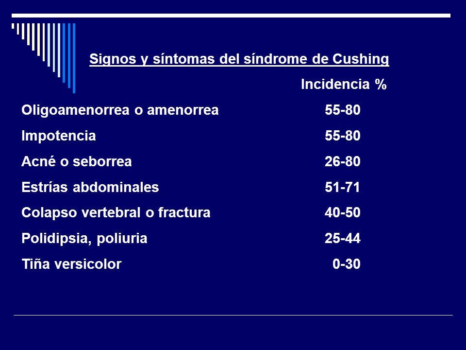 Fases del diagnóstico del síndrome de Cushing: 1.Cribado: Cortisol libre urinario: un valor 4 veces superior al límite alto de normalidad se considera diagnóstico.