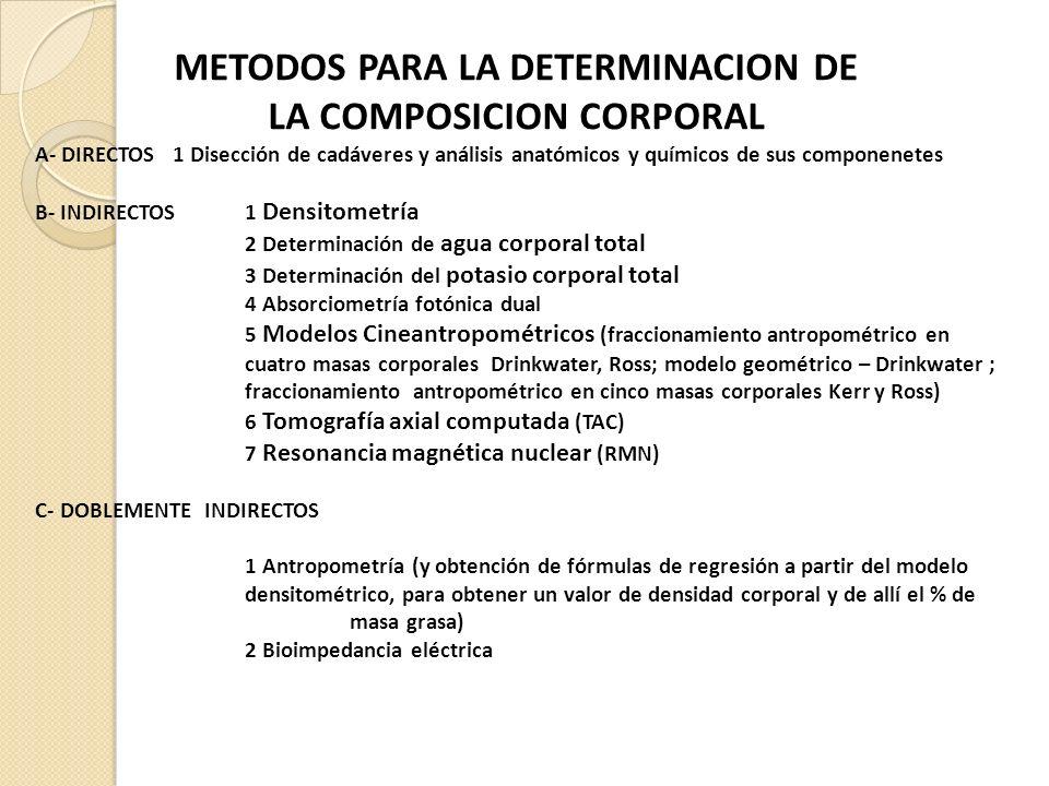 METODOS PARA LA DETERMINACION DE LA COMPOSICION CORPORAL A- DIRECTOS 1 Disección de cadáveres y análisis anatómicos y químicos de sus componenetes B- INDIRECTOS 1 Densitometría 2 Determinación de agua corporal total 3 Determinación del potasio corporal total 4 Absorciometría fotónica dual 5 Modelos Cineantropométricos (fraccionamiento antropométrico en cuatro masas corporales Drinkwater, Ross; modelo geométrico – Drinkwater ; fraccionamiento antropométrico en cinco masas corporales Kerr y Ross) 6 Tomografía axial computada (TAC) 7 Resonancia magnética nuclear (RMN) C- DOBLEMENTE INDIRECTOS 1 Antropometría (y obtención de fórmulas de regresión a partir del modelo densitométrico, para obtener un valor de densidad corporal y de allí el % de masa grasa) 2 Bioimpedancia eléctrica