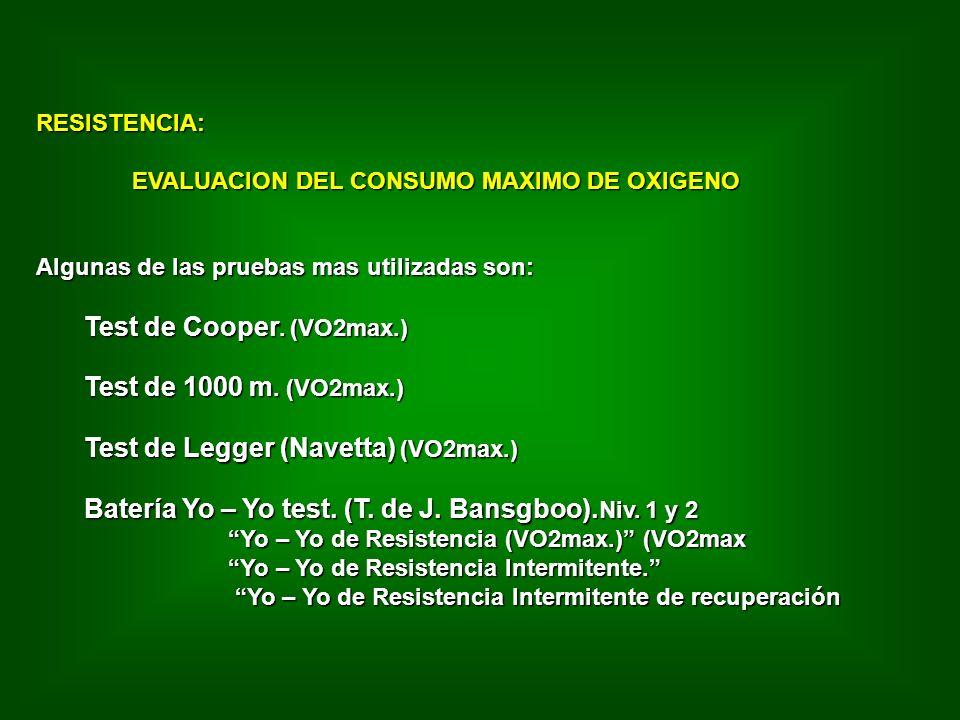 RESISTENCIA: EVALUACION DEL CONSUMO MAXIMO DE OXIGENO Algunas de las pruebas mas utilizadas son: Test de Cooper.