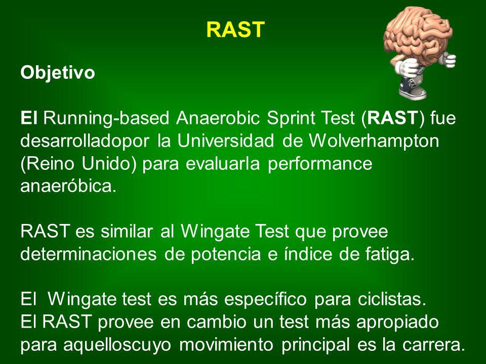 Objetivo El Running-based Anaerobic Sprint Test (RAST) fue desarrolladopor la Universidad de Wolverhampton (Reino Unido) para evaluarla performance anaeróbica.