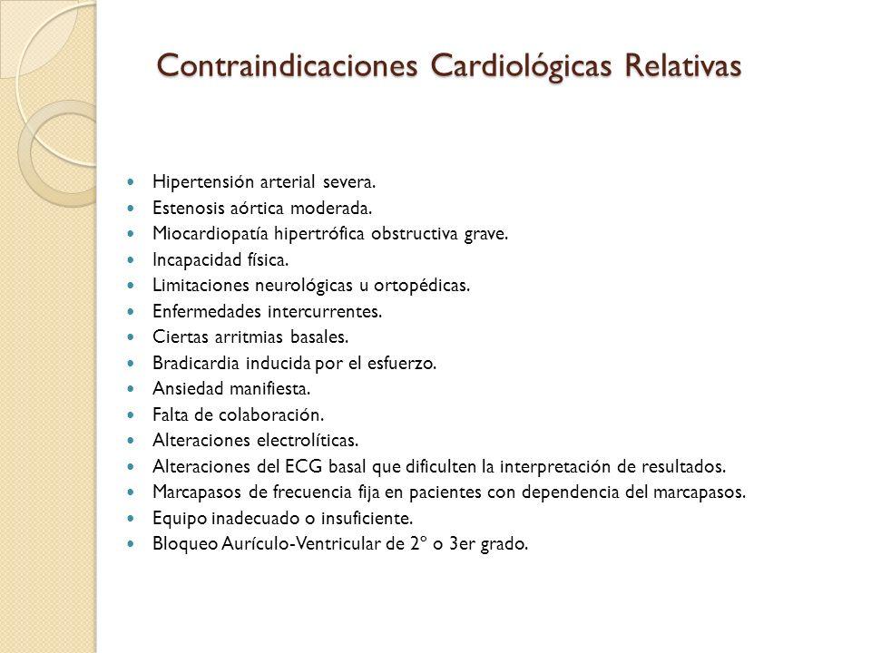 Contraindicaciones Cardiológicas Relativas Hipertensión arterial severa.