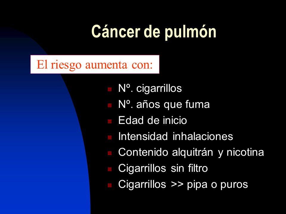 Es el cáncer + frec. que padece la humanidad Casi no existía a principios del S. XX 90% casos: provocado por tabaco Muerte por cáncer en la mujer: ya