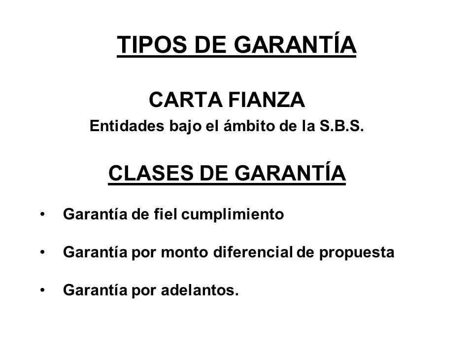 TIPOS DE GARANTÍA CARTA FIANZA Entidades bajo el ámbito de la S.B.S. CLASES DE GARANTÍA Garantía de fiel cumplimiento Garantía por monto diferencial d