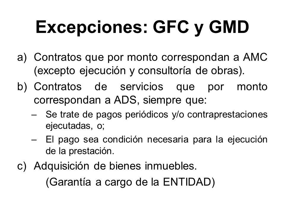 Excepciones: GFC y GMD a)Contratos que por monto correspondan a AMC (excepto ejecución y consultoría de obras). b)Contratos de servicios que por monto