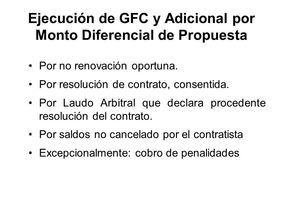 Ejecución de GFC y Adicional por Monto Diferencial de Propuesta Por no renovación oportuna. Por resolución de contrato, consentida. Por Laudo Arbitral