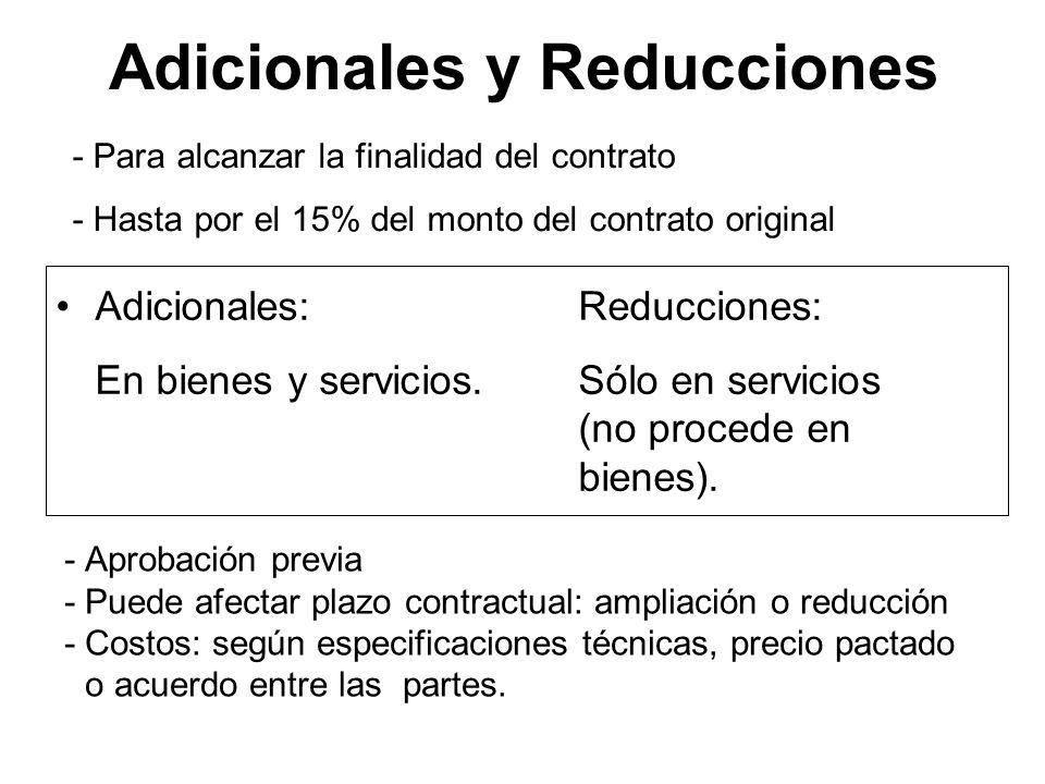 Adicionales y Reducciones Adicionales:Reducciones: En bienes y servicios.Sólo en servicios (no procede en bienes). Adicionales:Reducciones: En bienes