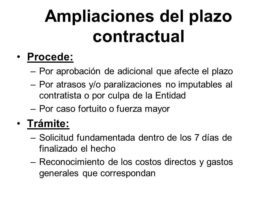 Ampliaciones del plazo contractual Procede: –Por aprobación de adicional que afecte el plazo –Por atrasos y/o paralizaciones no imputables al contrati