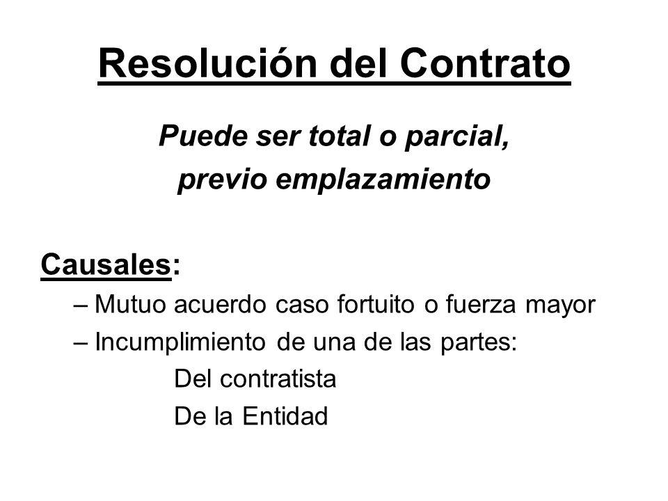 Resolución del Contrato Puede ser total o parcial, previo emplazamiento Causales: –Mutuo acuerdo caso fortuito o fuerza mayor –Incumplimiento de una d