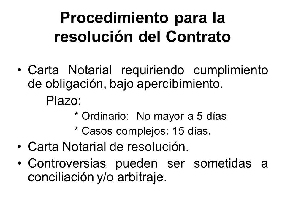 Procedimiento para la resolución del Contrato Carta Notarial requiriendo cumplimiento de obligación, bajo apercibimiento. Plazo: * Ordinario: No mayor