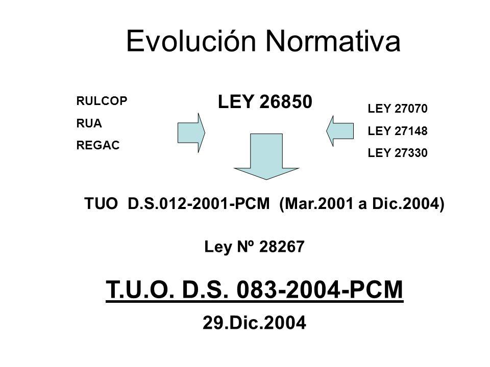Evolución Normativa LEY 26850 RULCOP RUA REGAC TUO D.S.012-2001-PCM (Mar.2001 a Dic.2004) LEY 27070 LEY 27148 LEY 27330 Ley Nº 28267 T.U.O. D.S. 083-2