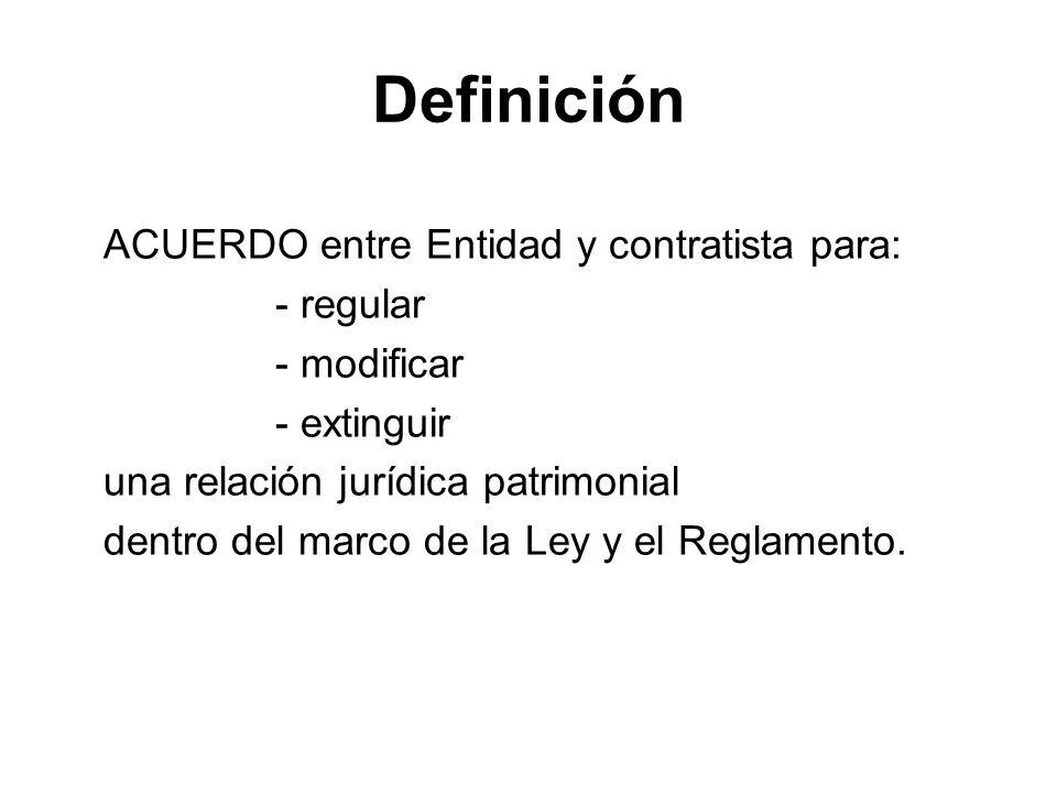 Definición ACUERDO entre Entidad y contratista para: - regular - modificar - extinguir una relación jurídica patrimonial dentro del marco de la Ley y