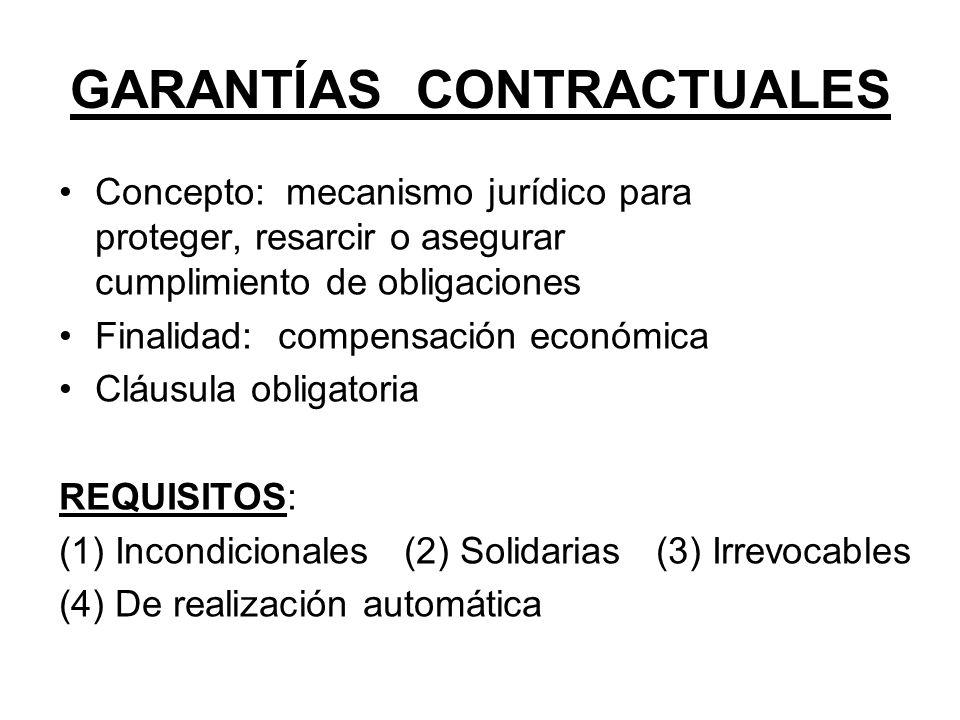 GARANTÍAS CONTRACTUALES Concepto: mecanismo jurídico para proteger, resarcir o asegurar cumplimiento de obligaciones Finalidad: compensación económica
