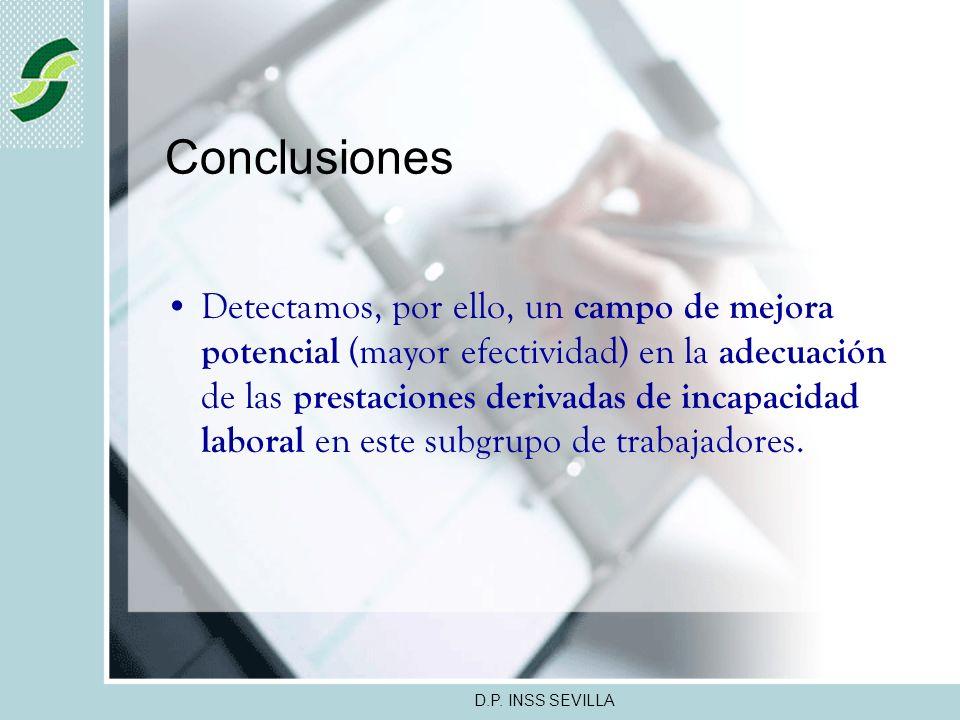 D.P. INSS SEVILLA Conclusiones Inferimos una tendencia de asociación (no estadísticamente establecida, aún) entre los procesos de IT por Similar patol