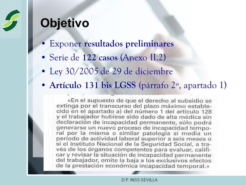 D.P. INSS SEVILLA VII JORNADAS TECNICAS ANDALUZAS DE INSPECCION DE SERVICIOS SANITARIOS ALMERIA - OCTUBRE 2007 NUEVOS PROCESOS DE INCAPACIDAD TEMPORAL