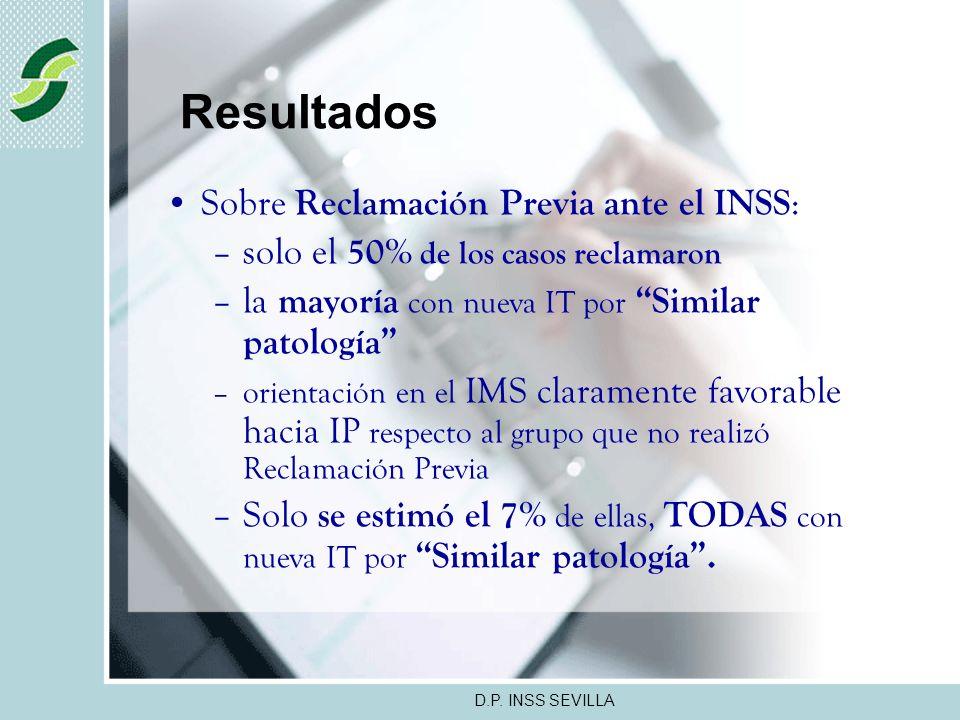 D.P. INSS SEVILLA Resultados La diversidad en la Codificación disminuye la precisión en la agrupación de los diagnósticos, no obstante, El 25% del tot