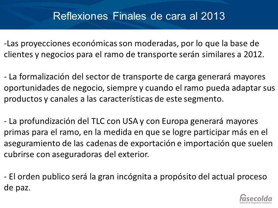 Reflexiones Finales de cara al 2013 -Las proyecciones económicas son moderadas, por lo que la base de clientes y negocios para el ramo de transporte s