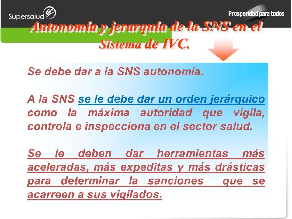 Autonomía y jerarquía de la SNS en el Sistema de IVC. Se debe dar a la SNS autonomía. A la SNS se le debe dar un orden jerárquico como la máxima autor