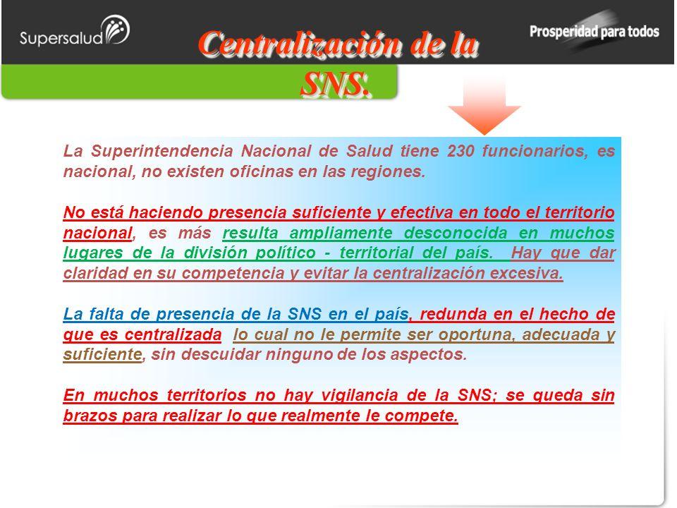 Centralización de la SNS. La Superintendencia Nacional de Salud tiene 230 funcionarios, es nacional, no existen oficinas en las regiones. No está haci