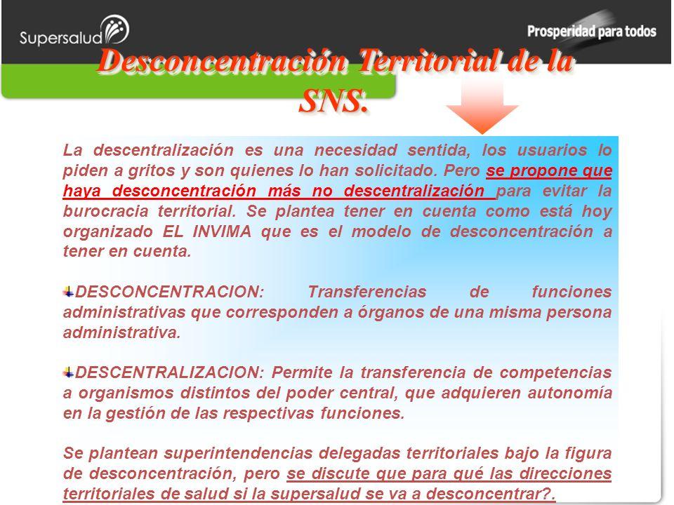 Desconcentración Territorial de la SNS. La descentralización es una necesidad sentida, los usuarios lo piden a gritos y son quienes lo han solicitado.