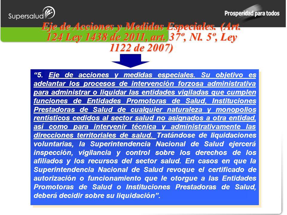 Eje de Acciones y Medidas Especiales. (Art. 124 Ley 1438 de 2011, art. 37º, Nl. 5º, Ley 1122 de 2007) 5. Eje de acciones y medidas especiales. Su obje