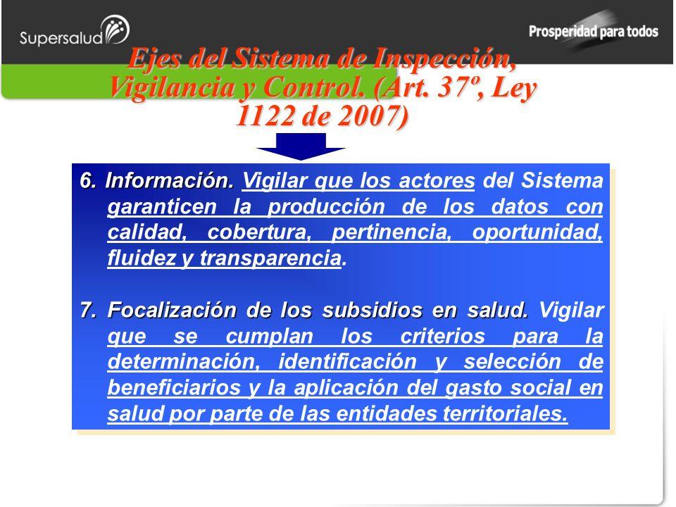 Ejes del Sistema de Inspección, Vigilancia y Control. (Art. 37º, Ley 1122 de 2007) 6. Información. 6. Información. Vigilar que los actores del Sistema