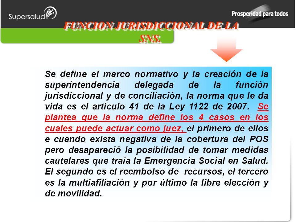 FUNCION JURISDICCIONAL DE LA SNS. Se define el marco normativo y la creación de la superintendencia delegada de la función jurisdiccional y de concili
